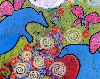 Enchanted Blue Bears Print. Bear Fairies. Colorful Animal Print. Whimsical Art for Nursery. Fantasy Art.