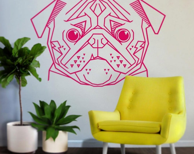 geometric pug wall decal, abstract dog art