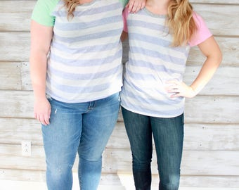 Gift for Friend, Striped Top, Tshirt Women, Knit Tops, Top Women, Tops and Dresses, Shirts, Womens Clothing, Mint Green, Pretty in Pink