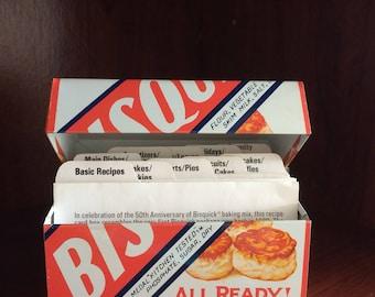 Bisquick recipe box with recipes, to celebrate 50th anniversary
