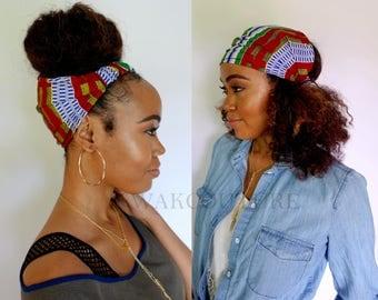 Satin Lined Headband Wrap, Wide Headband, Pineapple Bun Wrap, Ankara African Turban Wrap - Serengeti or Choose Color