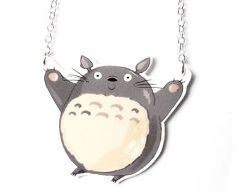 Handmade Illustrated Totoro Pendant Necklace