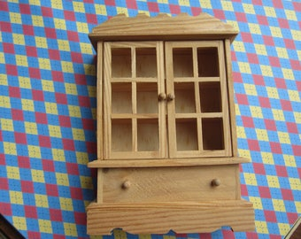 Miniature Dollhouse Furniture Wooden  Cabinet, Undecorated  #329