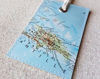 Dominican Republic luggage tag made with original vintage map
