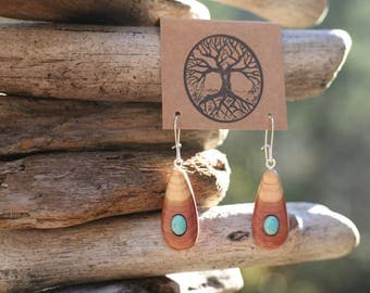 Turquoise & Red Cedar Earrings- Wooden Earrings - Natural Wood Jewelry- Eco Earrings