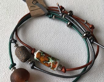 Set of Three Adjustable Leather Bracelets with Handmade Ceramic & Recycled Glass Beads