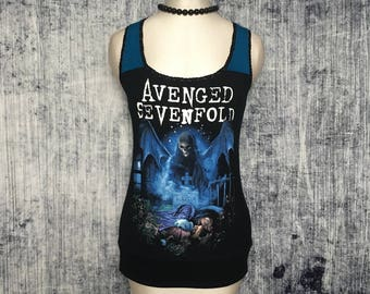 RESERVED FOR CLARE // Avenged Sevenfold Women's Tank Top // Reconstructed T-Shirt // Size Small // Gothic Music Alternative Horror Metal