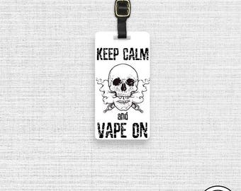 Luggage Tag Keep Calm Vape On Vaping Skull - Single Tag Personalized Metal Luggage Tag