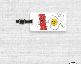 Luggage Tag  BFF Bacon and Eggs Watercolor Keto Funny Metal Luggage Tag Custom Info On Back Single Tag