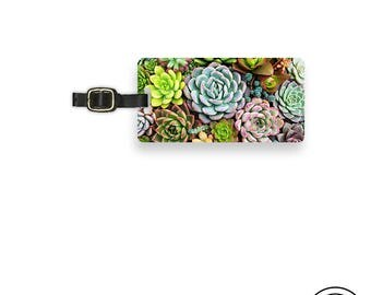 Luggage Tag Succulent Plants Metal Luggage Tag  With Printed Custom Info On Back,  Choice of Straps