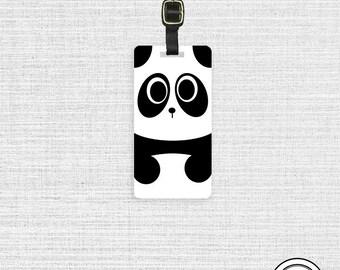 Luggage Tag Panda bear Cute Kawaii Baby Bear  - Metal Tag with Printed Personalization