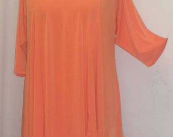 Coco and Juan, Lagenlook, Plus Size Tunic Top, Asymmetrical Top, Orange, Knit, Women's Tunic Top, Size 2 (fits 3X,4X)  Bust 60 inches