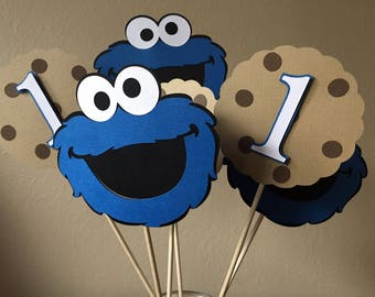 Cookie Monster Centerpiece, Cookie Monster Party, Sesame Street Party, Cookie Monster 1st Birthday, Sesame Street 1st Birthday, Set of 6