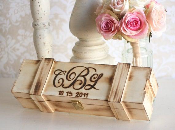 Unique Handmade Wedding Gifts: Personalized Wine Box Wedding Gift Bridal Shower Engagement