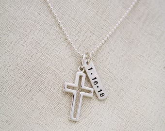 Personalized Boys Cross Necklace, Boys Confirmation or First Communion Gift, Silver Cross with Date Necklace for Boys, Hand Stamped