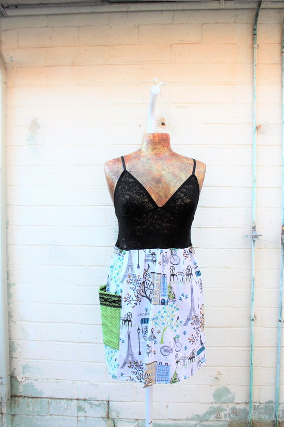 Small French Dress/Upcyled Clothing/Parisian Fairy Dress/Nymph Dress/Black lace sundress/Upcycled Dress/Upcycled fairy Dress/Anthropologie