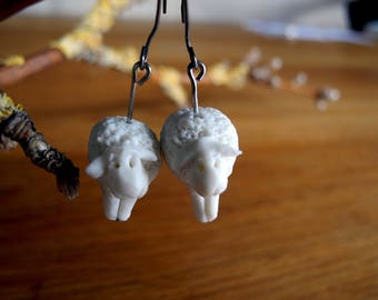 White sheep - dangle earrings in porcelain and surgical steel