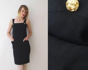80s  little black dress. viscose crepe pinafore dress. body con mini dress - xs