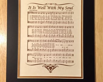 It Is WELL With My SOUL When Peace Like A River Christian Home or Office Decor Matted Hymn Wall Art Vintage Verses Sheet Music Wall Art