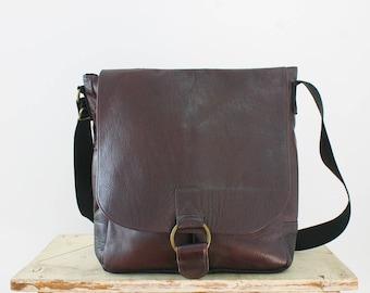 leather laptop bag | leather messenger bag | dark brown