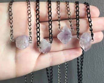 Moonlight Raw Amethyst Crystal Choker - Natural Genuine Clear Cloudy Rough Purple Lilac White Crystals Necklace, Short Black Gunmetal Chain