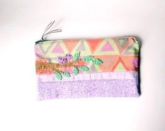 "Zipper Pouch, 5.5x9 "" in peach, mint and lavencer traingle print fabric with Handmade Felt Bird Embellishment, Bird Zipper Pouch"