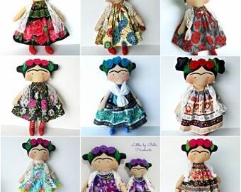 Mexican doll  Frida doll children catrinas decor doll to girls small dolls  happy dolls mexican unique doll littles by Bella dolls