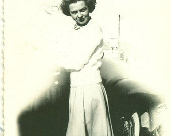 1940s Beautiful Woman Standing with Car 40s Vintage Photograph Black White Photo