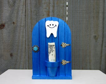 Tooth Fairy, Money Holder, Baby Tooth, Fairy Door, Blue, Metallic, Lost Tooth, Painted Wood, Childrens Gift