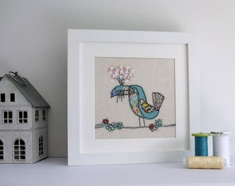 Toucan Freehand Machine Embroidery Liberty of London fabric with hand finished bouquet nursery babyshower