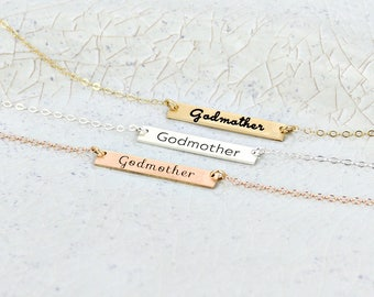 Gold Godmother bar necklace • Personalized bar necklace • Layering necklace • Engraved baptism necklace • Gold bar necklace • Godmother