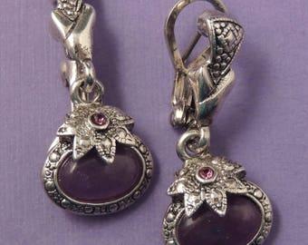 PREMIER DESIGNS Purple Glass and Marcasite Earrings / Premier Designs Silver Dangle Earrings / Premier Designs Marcasite Jewelry