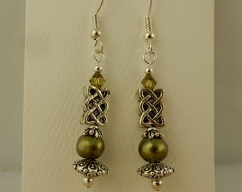 Silver Irish Celtic Knot beaded earrings, Freshwater green pearls and Swarovski crystal beads