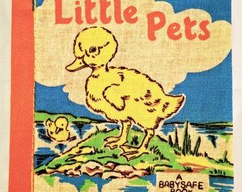 Vintage Cloth Book, deans rag book, vintage rag book, new old stock, cloth book, rag book, little pets, vintage child book, 1950s child book