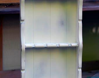 Vintage Spoon Rack. Farmhouse, Shabby Distressed, Vintage White. Country Cottage Decor