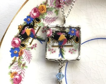 Broken china jewelry, pendant necklace, Art Deco parrot, cockatoo, antique china, blue Swarovski crystal bead