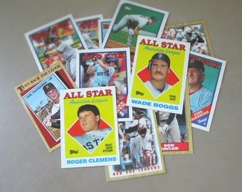 Boston Red Sox Gift for Men, Vintage Baseball Cards, Set of 30, Red Sox Fan Gift For Dad, Sports Gift, 90s and 80s Topps Trading Cards