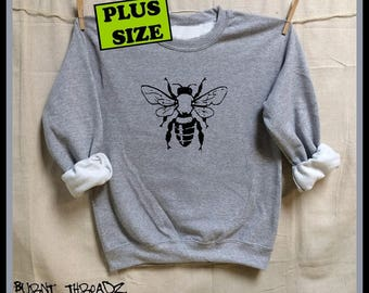 BEE. Plus Size Unisex 50/50 Sweatshirts .Women Mens Clothing. Hive. Beehive. Honey. Activist. Nature. Organic. Honeybee. Save the bees!