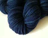 Hand Dyed Yarn, Sock Weight Superwash Merino Wool Yarn - Ink Tonal - Indie Dyed Knitting Yarn, Sock Yarn, Navy Blue Fingering Weight
