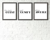 PRINTABLE Set of Guest Room Signs, Portrait Guest Room Art, Get Comfy Sign, Stay Awhile Sign, Be Our Guest Sign, Guest Room Decor, Set of 3
