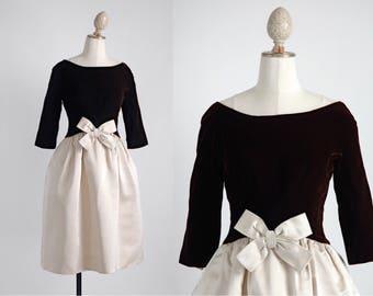 1950s Mollie Parnis silk velvet + satin dress * as-is * 5S962