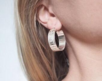 Silver Hoops, Silver Hoop Earrings, Geometric Earrings, Silver Earrings, Textured Hoops, Hoop Earrings, Hoops, Silver Hoops, Brushed Hoops