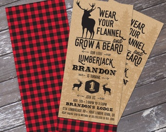 Lumberjack Invitation - Lumberjack Birthday Party, Buffalo Plaid Invitation, Self-Editing | DIY Editable Text INSTANT DOWNLOAD Printable