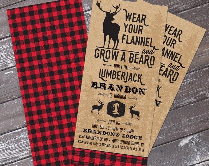 Lumberjack Invitation - Lumberjack Birthday Party, Buffalo Plaid Invitation, Self-Editing | DIY Editable Text INSTANT DOWNLOAD Printable