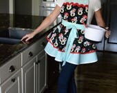 Womens Ruffled Retro Apron - Sexy Disney Minnie Mouse Flirty Pinup Apron with Pocket to Personalize or Monogram (DP)