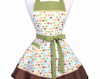 Womens Ruffled Retro Apron - Honey Bees and Hearts Womans Vintage Style Pinup Kitchen Apron to Personalize or Monogram (DP)