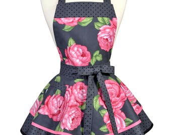 Ruffled Retro Pinup Apron - Pink Apple Blossom Floral Womans Vintage Style Kitchen or Wedding Apron Ideal to Personalize or Monogram