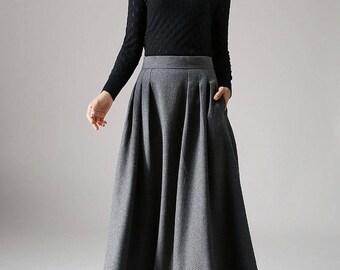 Wool skirt, a line skirt, winter skirt, long skirt, pleated skirt, dark grey skirt, pocket skirt, high waisted skirt, fitted skirt (1091)