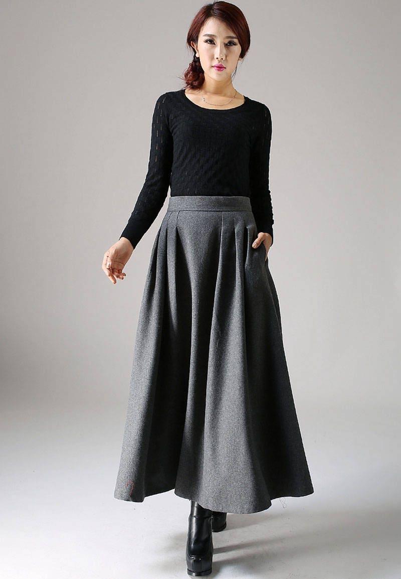Wool skirt a line skirt winter skirt long skirt pleated