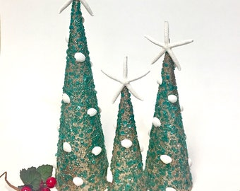 seashell and starfish christmas trees set of 3 beach decor coastal nautical - Beach Themed Christmas Trees